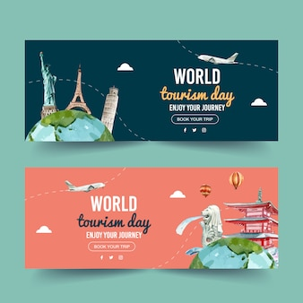 Tourism day banner design with statue of liberty, eiffel tower