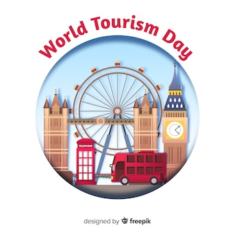 Tourism day concept with landmarks