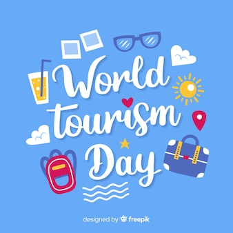 Tourism day concept with lettering