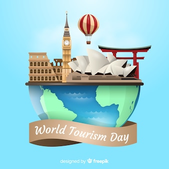 Tourism day event with realistic world