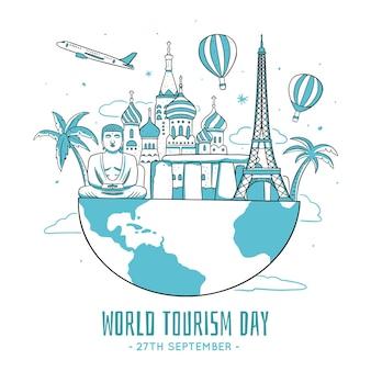 Иллюстрация дня туризма с достопримечательностями
