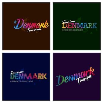 Tourism denmark typography logo background set