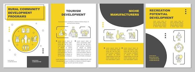 観光開発パンフレットテンプレート。ニッチメーカー。チラシ、小冊子、リーフレットプリント、線形アイコンのカバーデザイン。プレゼンテーション、年次報告書、広告ページのベクターレイアウト