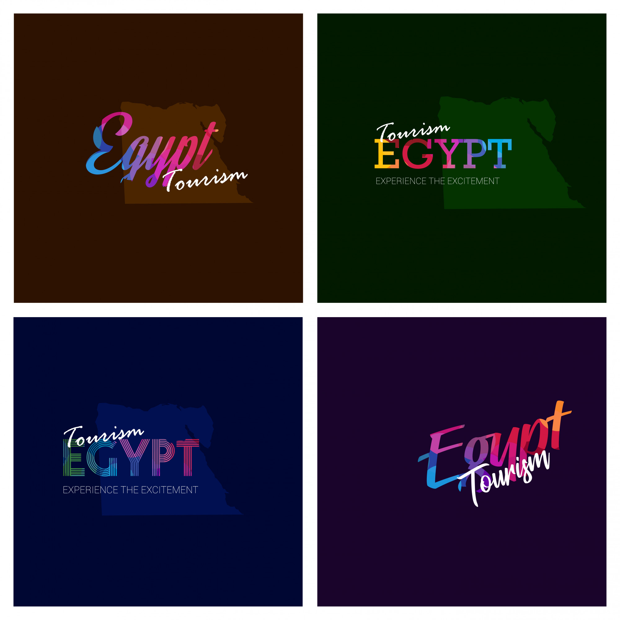 Tourism Egypt typography Logo Background set