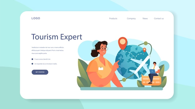Tourism expert web banner or landing page