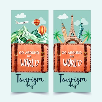 Tourism flyer design mountain, eifel, clock tower, the statue of liberty.