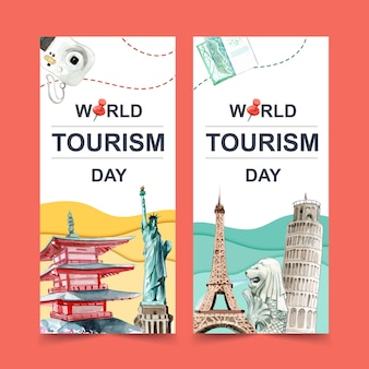 Tourism flyer design with chureito pagoda, merlion, leaning tower of pisa.