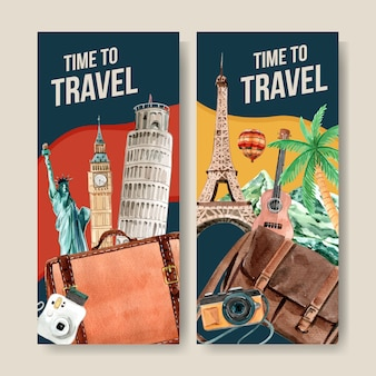 Tourism flyer design with clock tower, leaning tower of pisa, eifel.