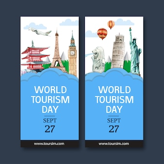 Tourism flyer design with merlion, clock tower, leaning tower of pisa.