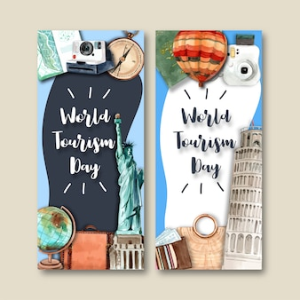 Tourism flyer design with the statue of liberty, leaning tower of pisa.