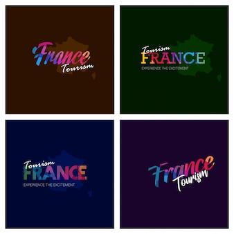 Tourism france typography logo background set