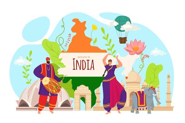 インドの観光、人々はアジア文化で旅行します