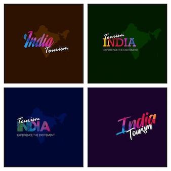 관광 인도 타이 포 그래피 로고 배경 세트 프리미엄 벡터