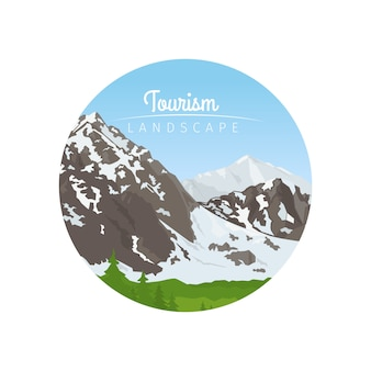 Tourism landscape circle icon with mountains