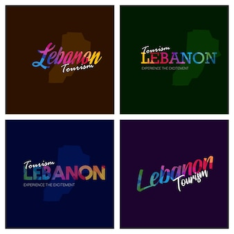 Tourism lebanon typography logo background set