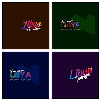 Tourism libya typography logo background set