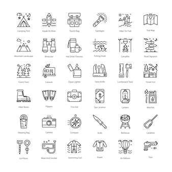 Tourism line icons pack