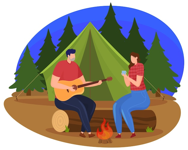 Tourism. a man and a woman are sitting by the fire in the evening, a man is playing the guitar. cartoon style