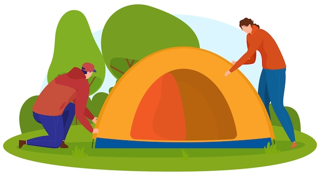 Tourism. man and woman make a tent in nature. cartoon style,