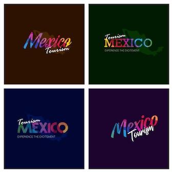 Tourism mexico typography logo background set