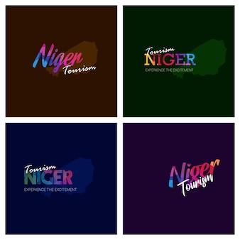 Tourism niger typography logo background set