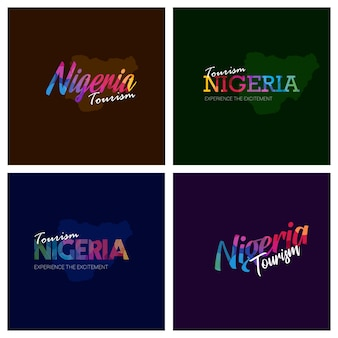 Tourism nigeria typography logo background set