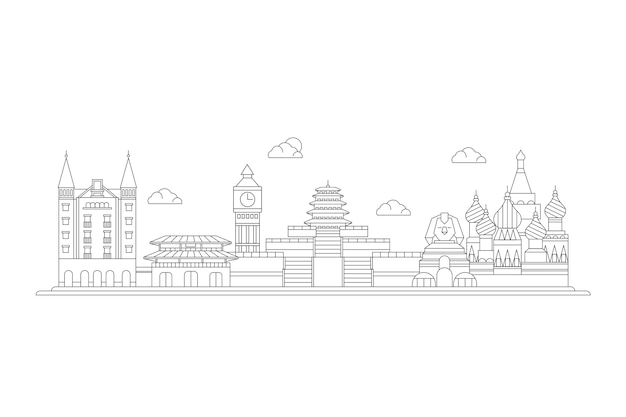 Tourism outline landmarks skyline