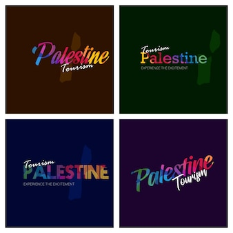 Tourism palestine typography logo background set