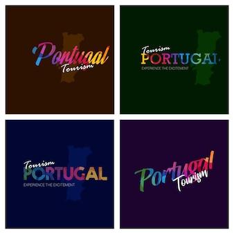 Tourism portugal typography logo background set