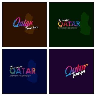 Tourism qatar typography logo background set