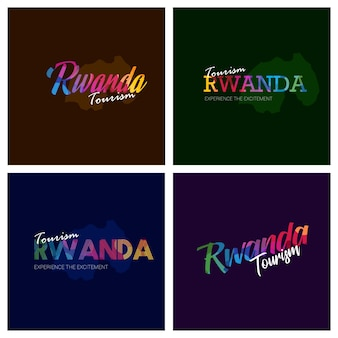 Tourism rwanda typography logo background set