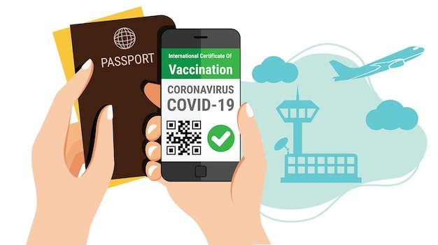 観光客の手には、パスポートとスマートフォンのモバイルコロナウイルスワクチン接種証明書のe-パスポートアプリがあり、空港での海外旅行のコンセプトに対応するqrコードが付いています。