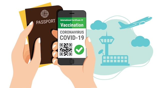 Tourism's hand holds passport and a smartphone mobile coronavirus vaccination certificate e-passport app with qr code for international travel concept at airport
