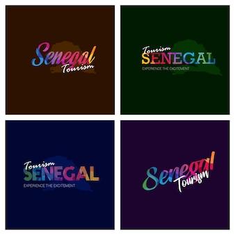 Tourism senegal typography logo background set