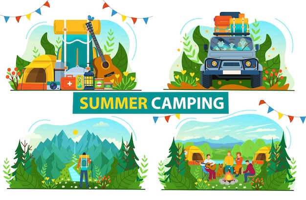 Tourism set for camping. family traveling in a car with a lot of suitcases.a backpacker standing on the top of a mountain enjoying river view. forest landscape with tourists around the campfire.flat