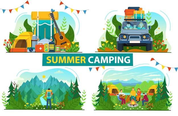 キャンプのための観光セット。スーツケースをたくさん持って車で旅行する家族。川の景色を楽しみながら山の頂上に立っているバックパッカー。キャンプファイヤーの周りの観光客と森の風景。フラット。