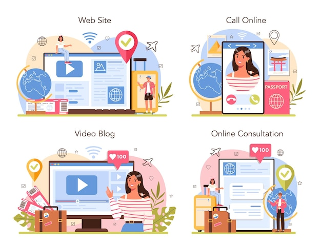 관광 전문가 온라인 서비스 또는 플랫폼 집합입니다. 여행사 판매 투어