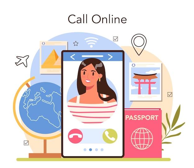 観光スペシャリストのオンラインサービスまたはプラットフォーム。旅行代理店販売ツアー。ホテルの予約とビザの申請。オンライン通話。フラットベクトル図