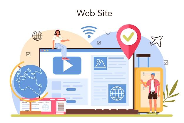 Tourism specialist online service or platform travel agent selling tour