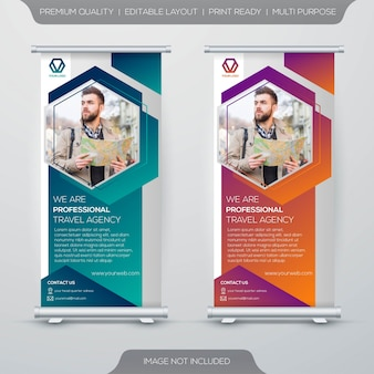 Tourism stand banner template design