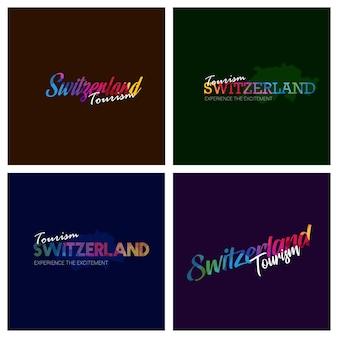 Tourism switzerland typography logo background set