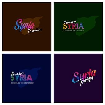 Tourism syria typography logo background set