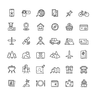 Tourism transportation and traveling line vector icons
