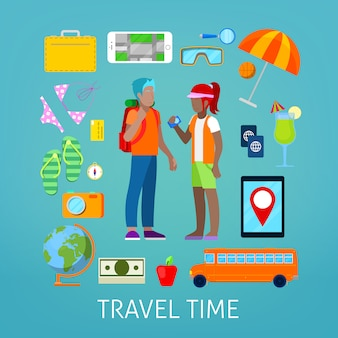 Tourism and travel icons set with tourist couple.