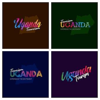 Tourism uganda typography logo background set