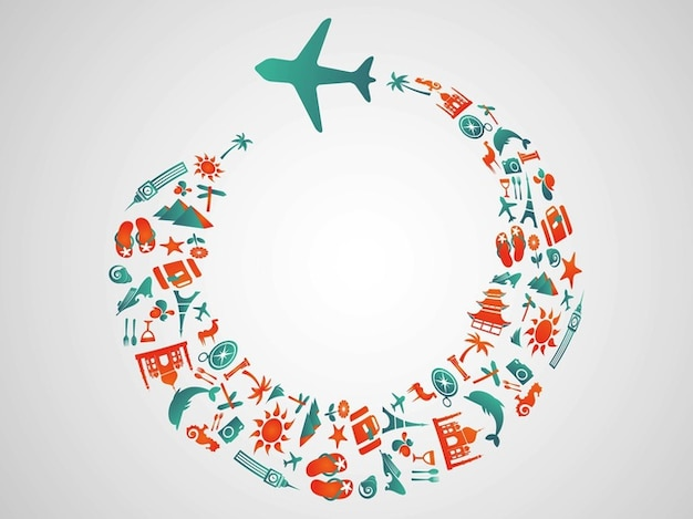 Tourism vector with airplane