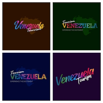 Tourism venezuela typography logo background set