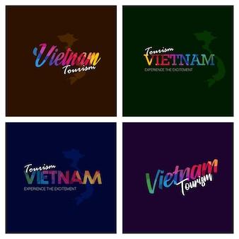 Tourism vietnam typography logo background set