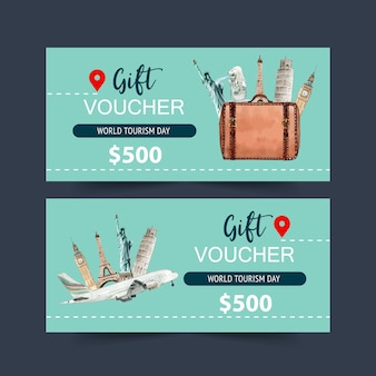 Tourism voucher design with bag, plane, clock tower, eifel tower.