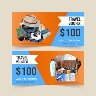 Tourism voucher design with camera, hat, bag, clothes, sunglasses.